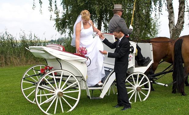 Brautpaar in einer Hochzeitskutsche